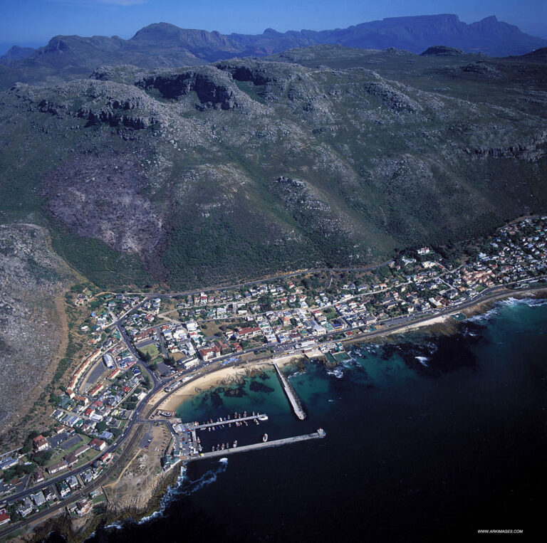 Aerial. False Bay. A view of Kalk Bay Harbour and the residential area.  http://www.arkimages.com 021 7943443 shawn@arkimages.com